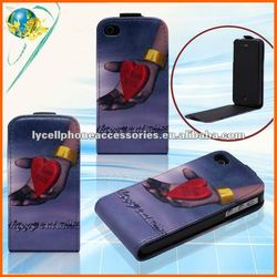 Black Design Leather Case For Apple iphone 4G 4S PU Pattern Protective New Mobile Phone Case