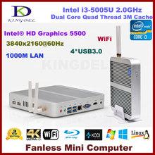 Fanless Mini pc x86 intel core i3 5005U processor,intel NUC with 4GB RAM 128GB SSD support 4K+Blue-ray resolution