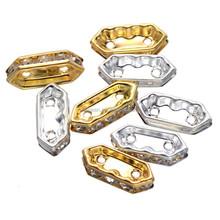 large stock hot sale Diamond shape metal 3 hole spacer beads