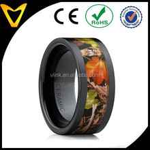 Men's Black Ceramic Band Outdoor Hunting Camouflage Ring, Real Forest Trees, Leaves 10MM Comfort Fit colorful ring