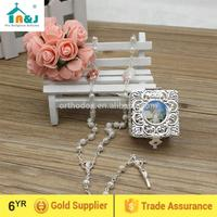 Eco-Friendly Material metal rosary necklace with cute cross Handmade