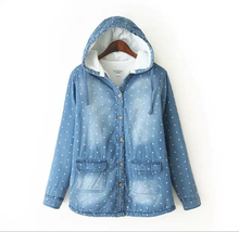 EY0646A 2015 New Style Women Wave point printing lambs wool denim hooded jacket