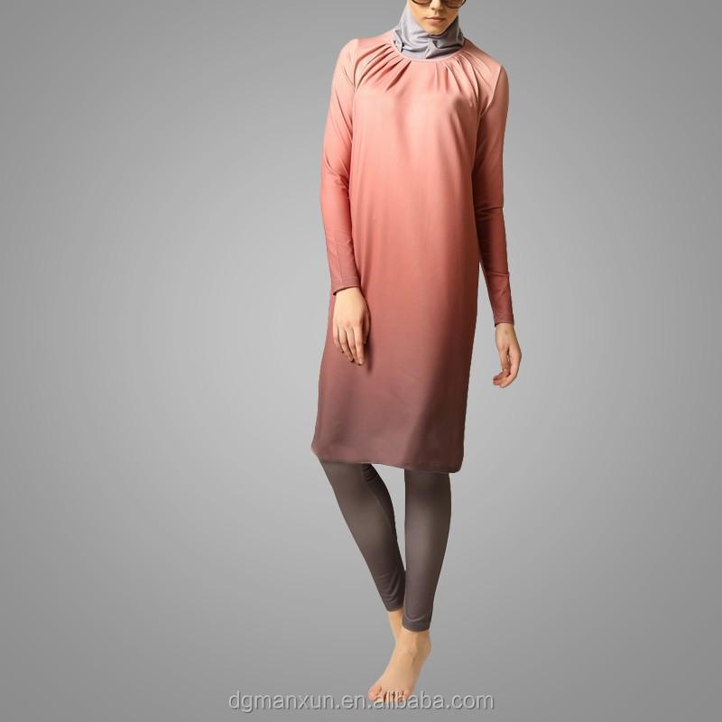 Dubai Abaya  2016 Ombre Fully Closed Swimsuit Lycra Jilbab Islamic Tracksuit