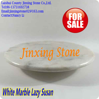 """White Marble Rotating Cheese Serving Turn Table Tray Plate Lazy Susan Dia.15"""""""