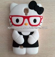 Mobile phone 3D smart silicone case for Samsung Galaxy S4 Kitty Design