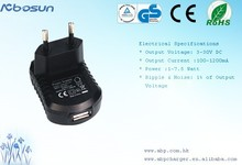 100 - 240V AC 5V 6V 7.5V 9V 12V DC power adapter 6w, usb EU plug CE ROHS approvals