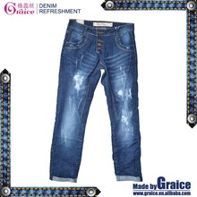 Harem design high waisted distressed hot cotton brand clothing jeans for women