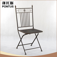 2015 New arrival black garden decoration cheap metal folding chairs