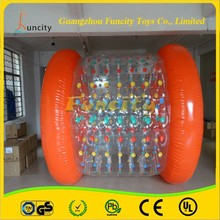 0.6mm pvc tarpaulin and pvc 2.7*2.4*2.2M inflatable red water roller, aqua rolling ball for kids and adults with cheap price