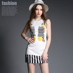 Slim new women's summer sleeveless A-line dress factory fruit wholesale
