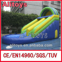 0.6mm PVC inflatable water slide, inflatable jumping slide with pool