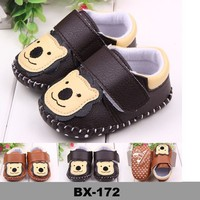 Bear pattern baby shoes Causal boy First step soft sole baby leather shoes
