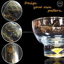 13oz High-Quality Crystal Fruit Bowl with Gold Rim 24K Gold Foil Leaf in Bottom