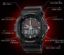 2015 New Energy Solar Watch Men's Digital Sports LED Watches Men Solar Power Dual Time Military Wristwatch Relojes