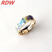 2015 RDW Euramerican manufacture new design round dots light green fashion enamel Rings