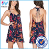 Yihao Cutting Backless Floral Print Latest Dress Designs Crochet Strap Dress Women Wear sexy casual dress 2016