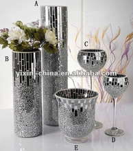 Silver Mirror Glass Mosaic Vase,Crakle Candle Holder for wedding centerpieces