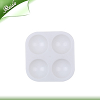 Rectangular 4 round wells White Plastic Empty Paint Palette Tray Manufacturer