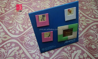 Blue PU Leather funny magnetic photo frame with several photo windows
