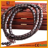 Natural wood Ebony lucky spiritual Tibetan Barrel mala small beads handmade couple bracelets with prayer