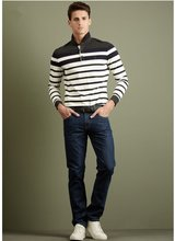 black and white designer stripe contrast collar polo t-shirts with full sleeve for men