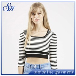 2015 Latest personality Design Ladies Long Sleeve Stripe Tops / Cropped Top