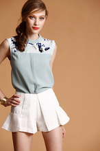 2015 suit fashionable bead piece chiffon shirts and shorts two-piece outfit