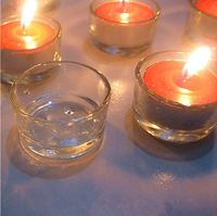 Small clear tealight glass candle holder