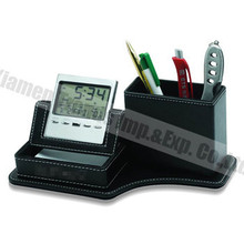promotional calendar pen holder with LCD Clock, man pen holder of useful gifts for men
