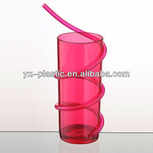reusable tumblers with straw plastic drink cups 250ml