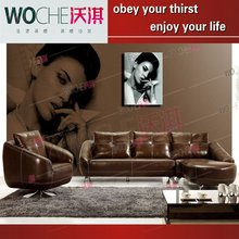 Hot selling modern living room furniture genuine leather sofa set sectional sofa WQ6803