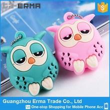 Alibaba China Universal Smart Phone 3D Cute Owl Earphone Jack Anti Dust Plug With Chain