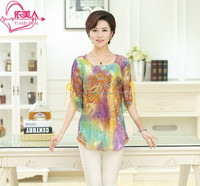 2015 Latest style fashion flowers elegant ladies summer short sleeve silk blouse and shirt