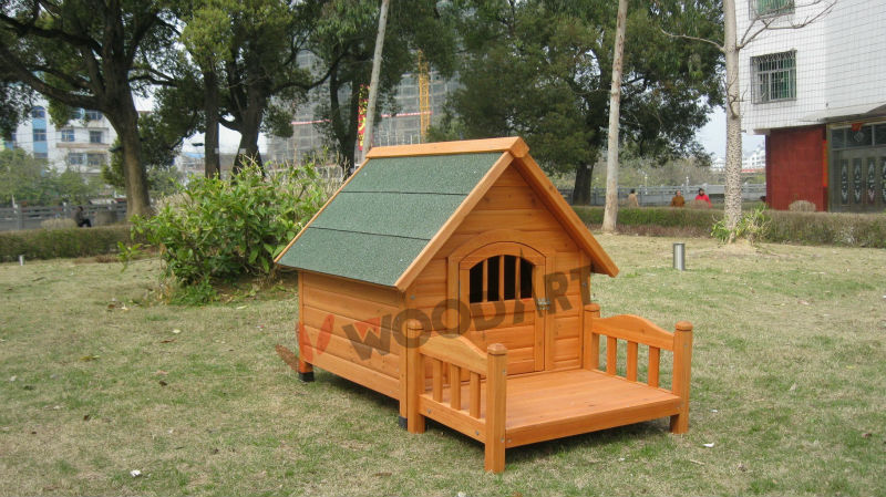 Wooden Dog Kennel with Bed,Waterproof