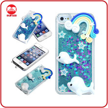 Newest Girl Creative Bling Glitter Dolphin Liquid Design 3D Cell Phone Case for Mobile Phone Accessory