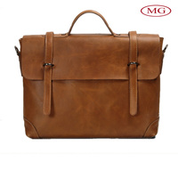 Vintage briefdcase bag with natural cow leather large/big volume leather bags for 14'' laptop or tablet from china supplier