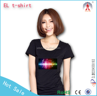 kids led sound activated t-shirts/led music light t shirt/Custom Design EL T-shirts