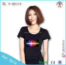 kids led sound activated t-shirts/led music light t shirt/Custom Design EL T-shirts