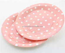 Environmental Fancy Pink Party Round Paper Plates - 9 Inch