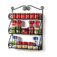 kitchen metal scroll wire wall mount spice rack