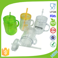 16oz 17oz 500ml 32oz 1000ml Ball Plastic Mason Jars with handle and Straw for Free as Promotion