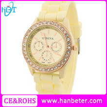 Hotsale lady popular geneva watch price cheap japan movement with interchangeable straps