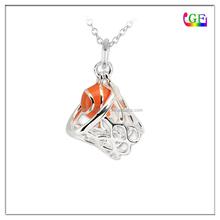 Enameled Basketball & Net charm for necklace bracelet