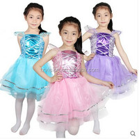 Wholesale Child latin dance costumes kids long TUTU dress with fairy wings headband set
