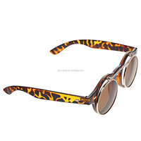 2015 Hot sale Fashionable Punk Goggles Glasses Retro Flip Up Round Sunglasses(Leopard Print Frame Tawny)