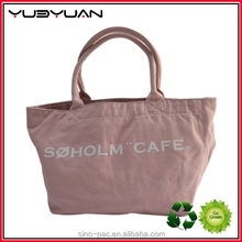 2015 Cute pink tote shopping bags 100% bleached dyed cotton washed canvas bag