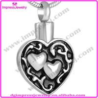 IJD8539 316L steel Cremation urn jewelry , over two heart always in my heart ash Pendant keepsake