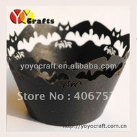 Halloween party decoration Laser cut bat wrapper pumpkins cupcake wrappers