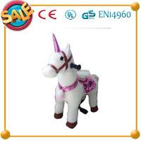 HI CE new design unicorn ride on horse,mechanical animal unicorn walking ride,pink unicorn walking animal rides
