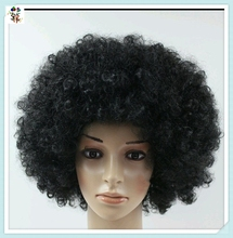 Football Fans Crazy Party Cheap Short Curly Black Big Afro Wigs HPC-1323